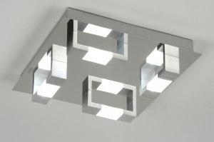 plafondlamp 89145 modern chroom aluminium geschuurd aluminium glas metaal vierkant