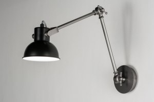 wandlamp 89319 landelijk rustiek industrie look zwart metaal