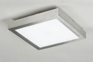 plafondlamp 89401 modern geschuurd aluminium kunststof vierkant