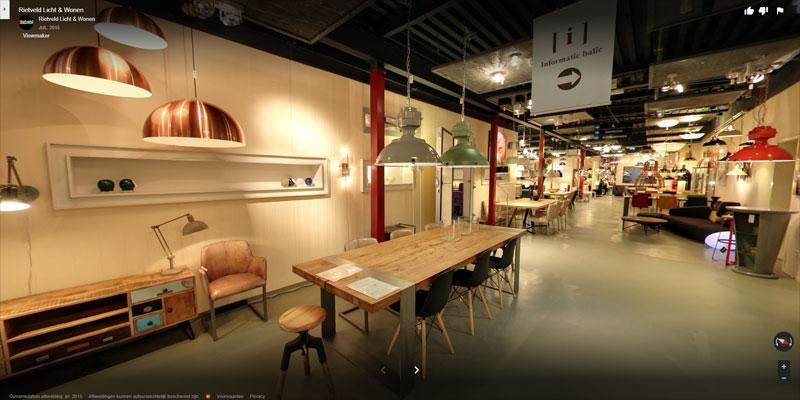 streetview afbeelding van de showroom van rietveld licht wonen